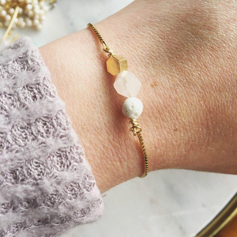 Diffuser bracelet Lava and rose quartz essential oil image 0