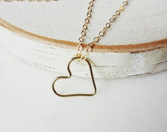 Gold open heart necklace -Adore -dainty layering jewelry