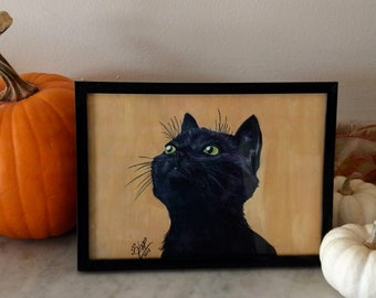 Black Cat Portrait- Original Acrylic Painting