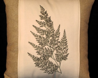 New Embroidered Cream & Tan Fern Pillow New 14 x 14 Insert -- Item 110