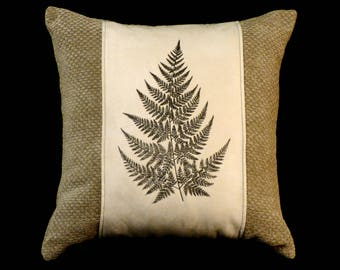 New Embroidered Sage & Cream Fern Pillow New 16 x 16 Insert — Item 280