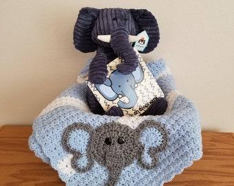 Elephant Theme Baby Gift Basket - Crocheted Baby Elephant Blanket - Baby Boy Gift - Baby Boy Shower Gift - Elephant Themed Baby Shower