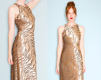 Nina Austin 1990s Velvet Sleeveless Tiger Print Maxi Dress Gown Size Small