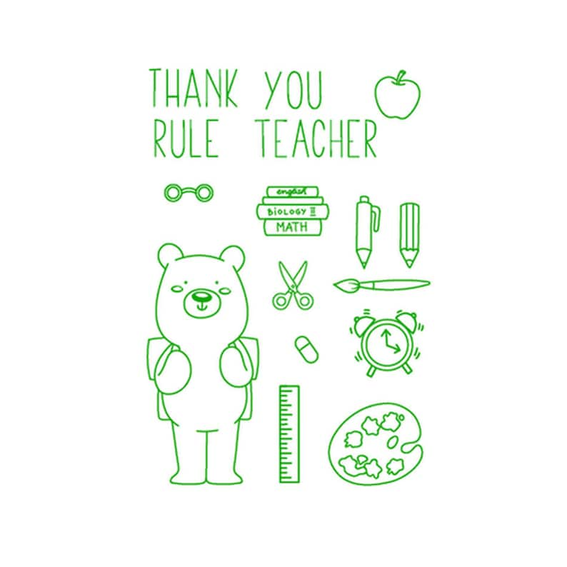Clear Stamp Set Teacher School Thank You Scrapbooking Card Making Crafts Stamping