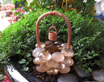 Fairy Garden Accessories, Wishing Well, Frosty Copper Glass Drops, Copper U0026  Glass Wishing Well, Outdoor Fairy Garden