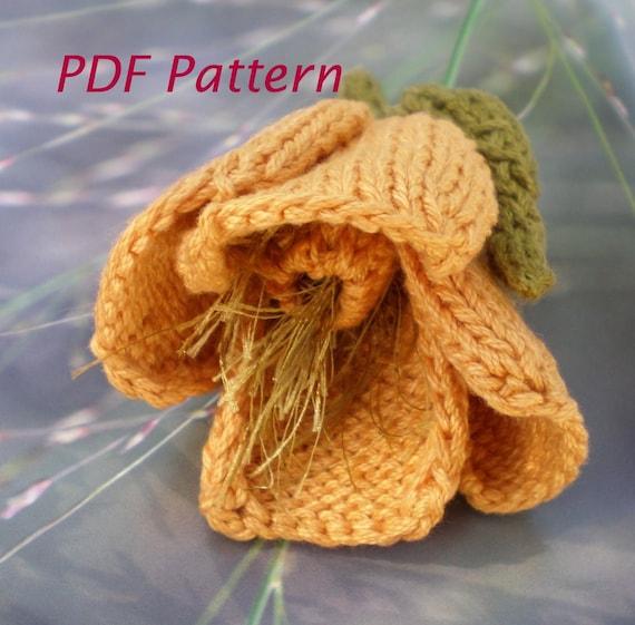 Pdf Knit Flower Pattern California Poppy Flower Etsy