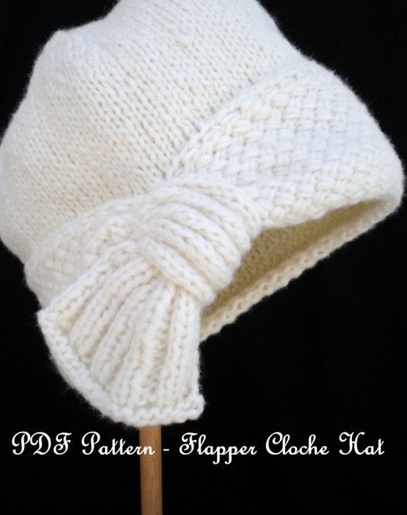 Pdf Pattern Women Knit Cloche Hat Flapper Cloche Hat Etsy