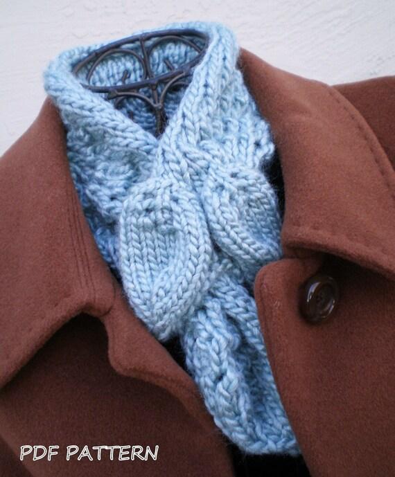Women Knit Ascot Scarf Pdf Pattern Leaves Ascot Scarf Etsy