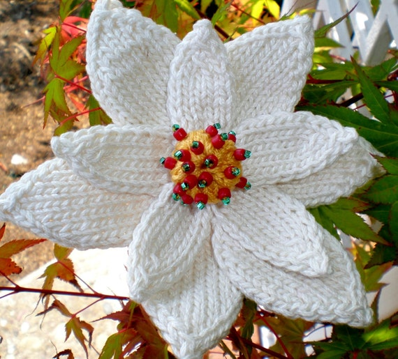 Poinsettia Flower Instant Download Pdf Knitting Pattern Etsy