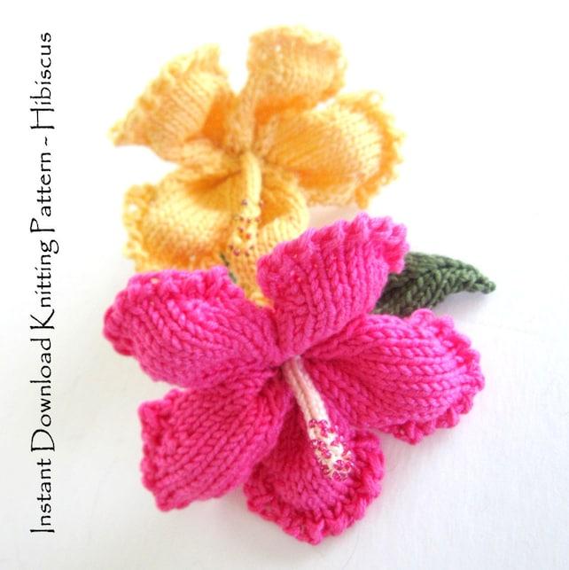 Instant Download Pdf Knit Flower Pattern Hibiscus Flower Etsy