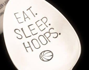 Basketball Gift EAT SLEEP HOOPS Stamped Spoon Game Day Party Birthday For Him Dad Boyfriend Coach Sports Lover Fan Mom