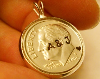 10th Wedding Anniversary Gift for Her Wife, Tenth Tin 10 Year Gifts for Women, Personalized Dime Jewelry, Uncirculated 2018 2008 2007 2017 +