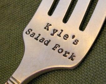 Custom Salad Fork: Personalized Stamped Name Fork, Vintage Silver Salad / Dessert Fork, Healthy Eating, Eat Clean, Eat Vegetables, Dieting