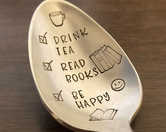Drink Tea Read Books Be Happy Spoon: Tea Lover, Bookworm, Book Lover, Reader Gift, Bookish, Stamped Vintage Silver Teaspoon, Gift for Her