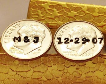 11 Year Anniversary Gift for Husband: Personalized Mens Cufflinks, 11th Eleventh Wedding; Him Man, Initials & Date, Stamped Dimes 2010 2021