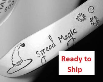 Stamped Spreader: SPREAD MAGIC, Halloween Silverware Party Table Decor, Witch Hat, Butter Cheese Knife, Hostess, Haunted House Ready to Ship