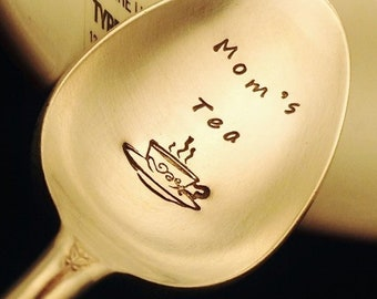 Mom's Tea Spoon, Gift for Mom: Hand Stamped Engraved Spoon, Hot Tea, Mommy Gift, Mothers Day Gift, Birthday Gift, Vintage Silver, Tea Lover