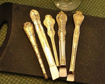 CHEESE Markers: Labels Forks Tags Picks, Stamped Vintage GOLD Flatware Handles, Upcycled Silverware, Wine and Cheese Dinner Party, Gift Box