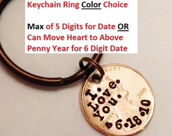 I LOVE YOU Keychain, Anniversary Gift for Him Her Boyfriend Husband Men: First Date, Engagement, Valentines, Birthday, Lucky Penny Key Chain