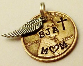 Memorial Gift, Loss of Mother Jewelry, Custom Mom Remembrance Sympathy Condolence Bereavement, Personalized, In Memory Of, Birth Year Penny