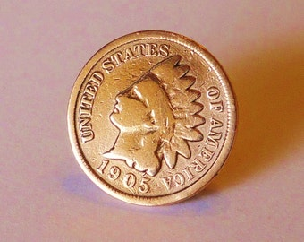 Tie Tack INDIAN HEAD PENNY Hat Pin Lapel Birthday Fathers Day Gift For Men Grandpa Coin Jewelry 1859 1908 History Buff