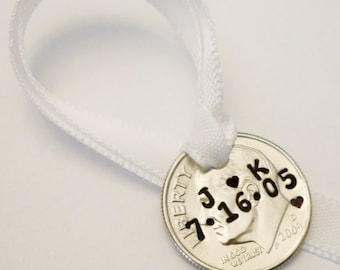 2021 Personalized Christmas Ornament: 10th Wedding Anniversary Gift for Couples Husband Wife, 10 Year, Tin, Uncirculated Stamped Dime 2011 +