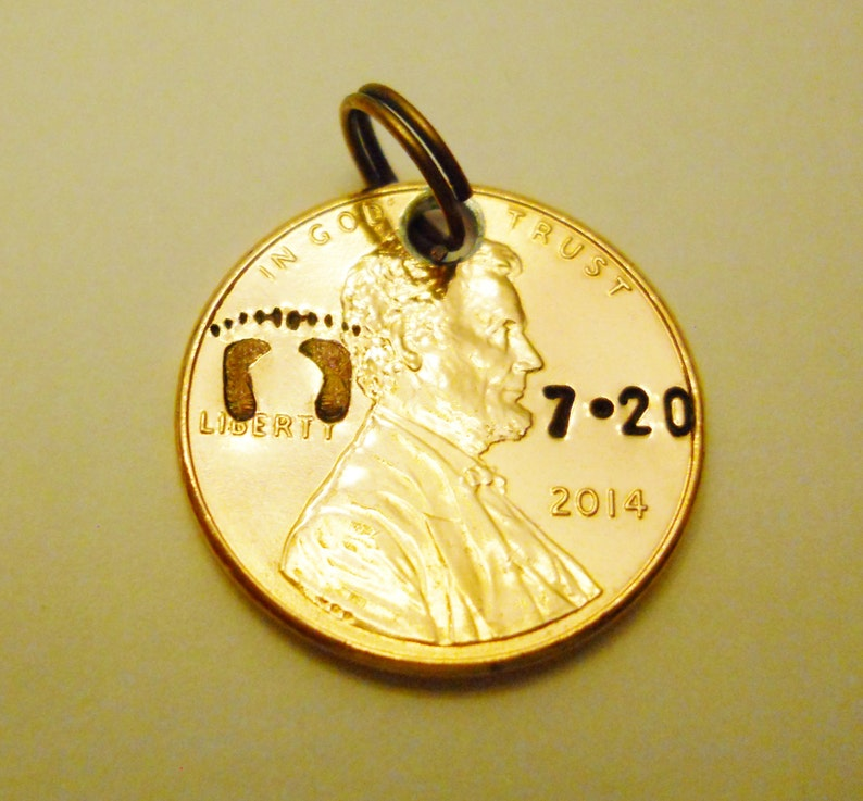 Baby Birth Date Charm or Keychain: Personalized Date Penny image 0