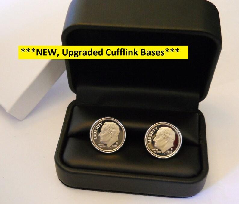 10 Year Anniversary Gift for Man Dime Cufflinks: 10th Wedding image 0