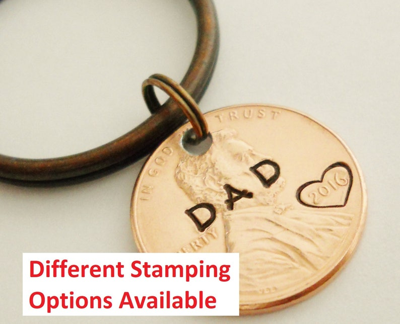 DAD Keychain: New Daddy Lucky Penny 1st First Fathers Day image 0