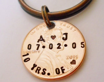 Anniversary Keychain: 10th Anniversary, 7th Wedding, Personalized Mens Women Couples, Hand Stamped, Customizable, 10 Years of Love, 2020 +