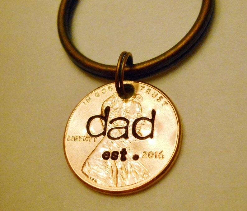 Dad Est 2019 Keychain New Daddy Dad Established In Year DAD image 0