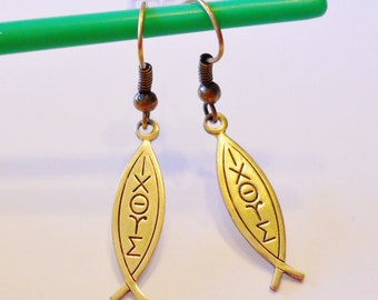 Christian Earrings: Religious Earrings, Jesus Fish, Sign of the Fish, Ichthys, Ichthus; Faith Jewelry, Greek Letters, Confirmation, Gift Box