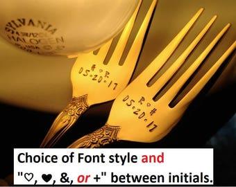 Wedding Forks: Gold Forks, Initials & Date; Engraved Hand Stamped GOLD Forks, Custom Personalized Cake Fork Set, Wedding Flatware Silverware