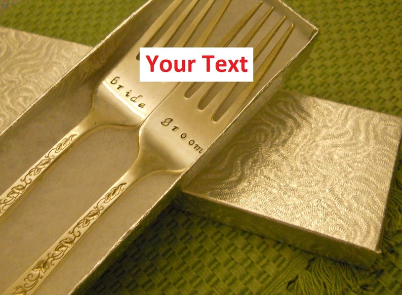 Wedding Forks BRIDE & GROOM Or Customized Text Custom image 0