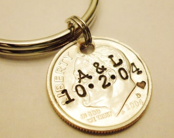 10 Year Anniversary Stamped DIME Keychain; Couple Gift, 10th/Tenth Wedding, Personalized Mens Womens Initials Date, UNCIRCULATED 2011 2021 +