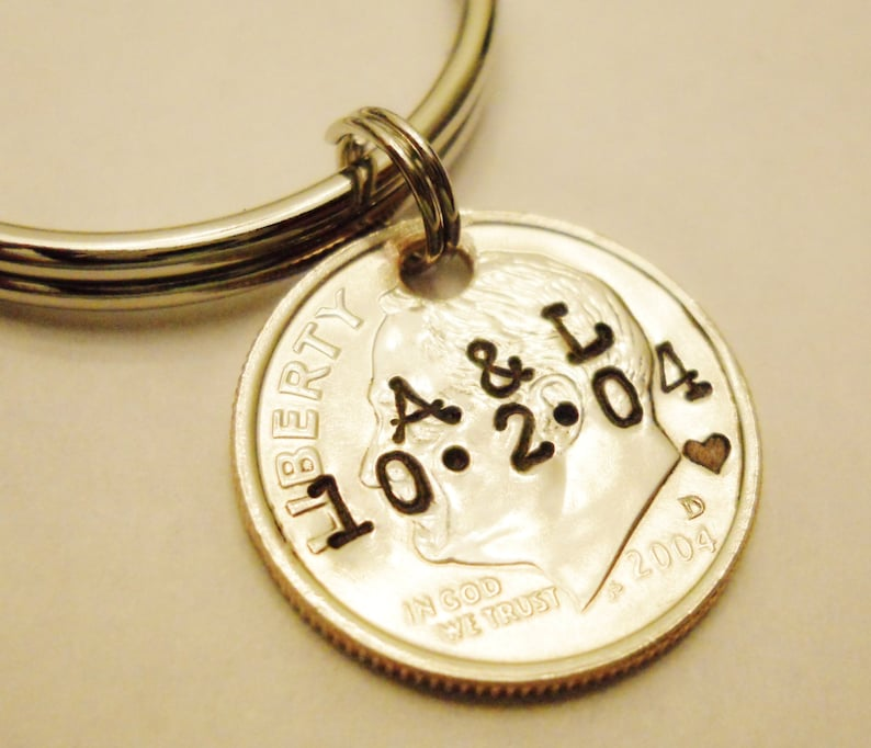 10 Year Anniversary DIME Keychain Couple Gift 10th/Tenth image 0