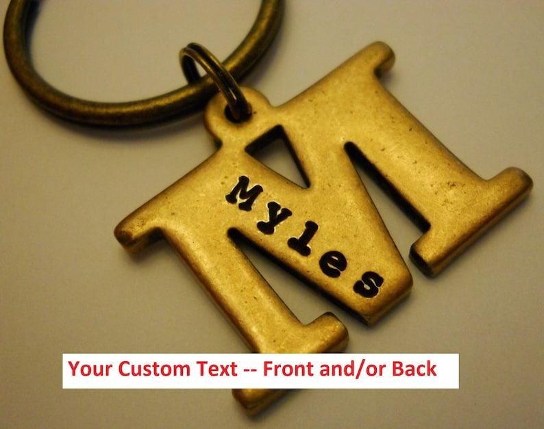 Letter Initial KEYCHAIN: Personalized Name Date Initials image 0