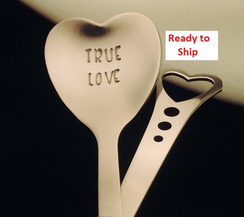 Hand Stamped Spoon: TRUE LOVE Heart Shaped Spoon Romantic image 0
