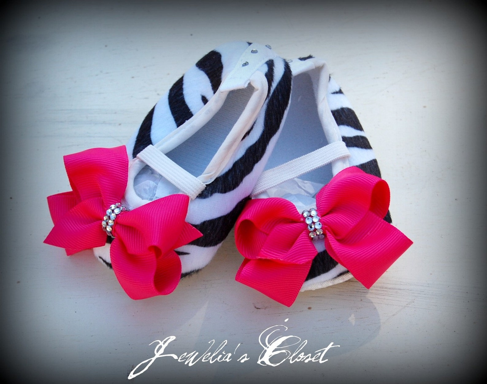 baby crib shoes swarovski zebra print ballet flats with hot pink/shocking pink bows- bling baby shoes make the perfect baby show