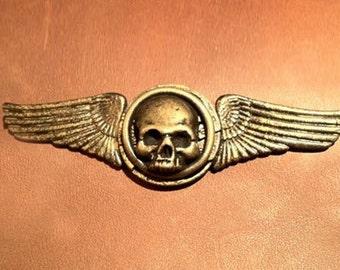Winged Skull Pin- Steampunk