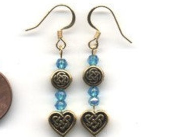 Gold and Blue Beaded Celtic / Irish Earrings - FREE SHIPPING