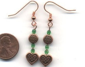Copper and Green Celtic / Irish Beaded Earrings - FREE SHIPPING