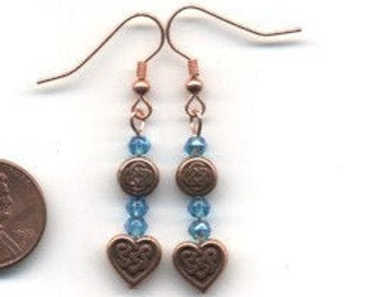 Copper and Blue Celtic / Irish Beaded Earrings - FREE SHIPPING