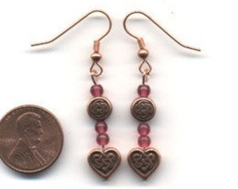 Copper and Pink Celtic / Irish Beaded Earrings - FREE SHIPPING