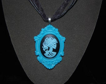 Blue and Black resin Skull/Lolita/Sugar Skull Necklace - FREE USA SHIPPING - Day of the Dead/Halloweeen