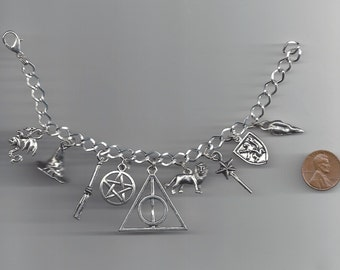 Harry Potter Inspired Charm Bracelet - FREE DOMESTIC SHIPPING - 9 Different Charms