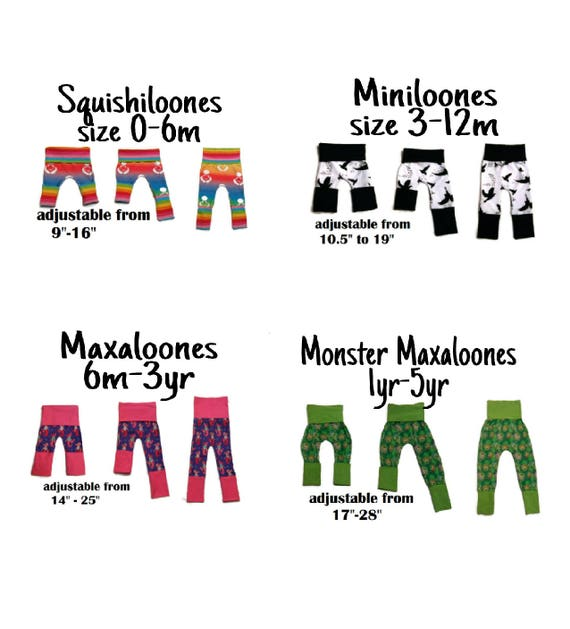 Maxaloones SEWING PATTERN PDF Nb-5T grow with me pants