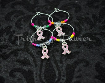 Breast Cancer Awareness Bling Ribbons Drink Glass Charms (#2)
