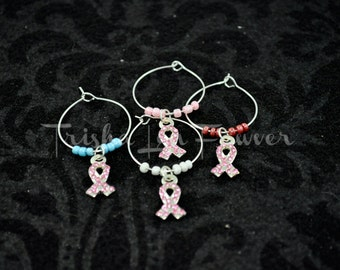 Breast Cancer Awareness Bling Ribbons Drink Glass Charms (#1)