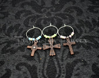 Easter Crosses Wine Charms